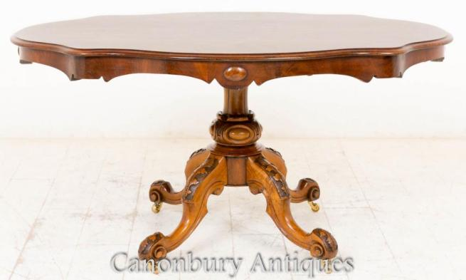 Victorian Burr Walnut Breakfast Table Centre Dining Tables 1860