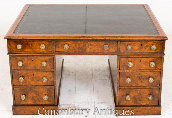 Victorian Burr Walnut Partners Desk 1860