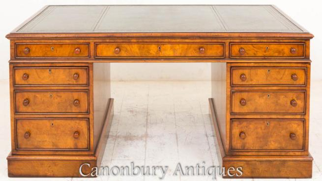 Victorian Burr Walnut Partners Desk Circa 1860