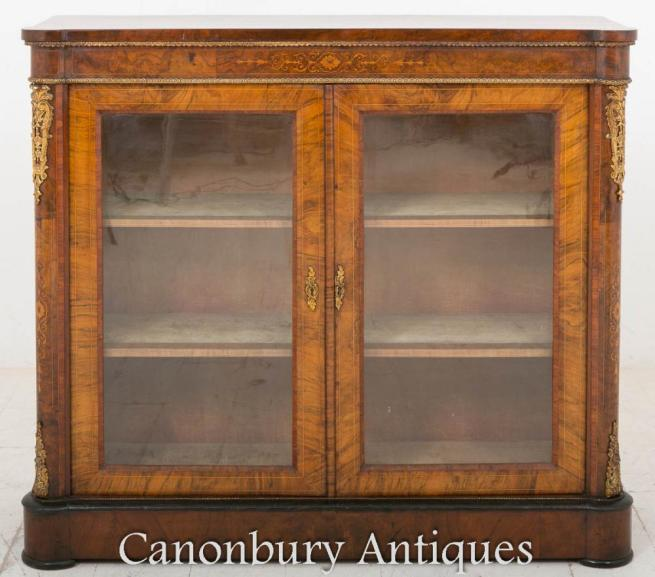 Victorian Burr Walnut Pier Cabinet Display Case 1860