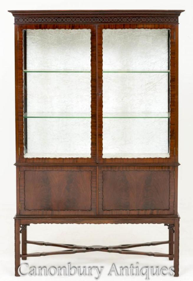 Victorian Chippendale Mahogany Display Cabinet