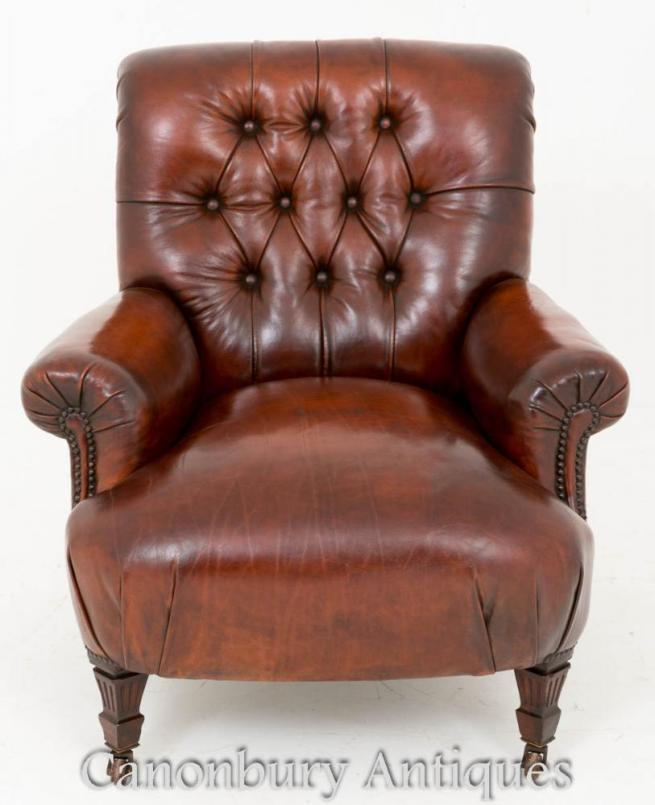 Victorian Club Chair Deep Buttoned Leather Arm Chairs