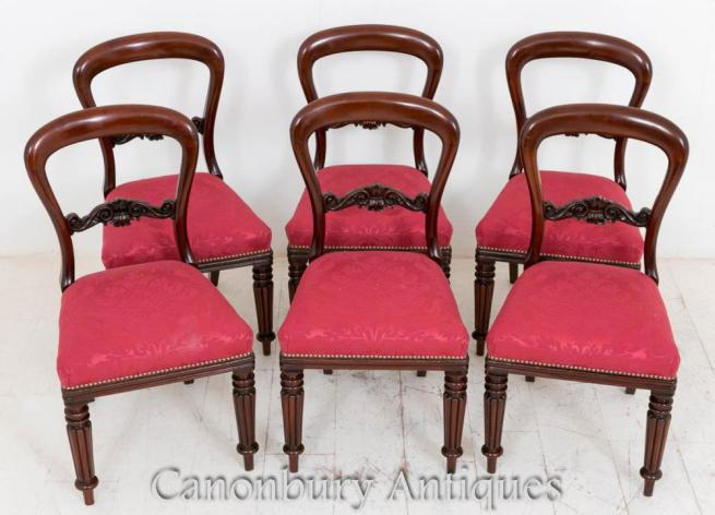 Victorian Mahogany Balloon Back Dining Chairs