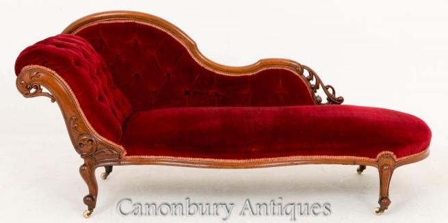 Victorian Mahogany Chaise Longue Couch 1860