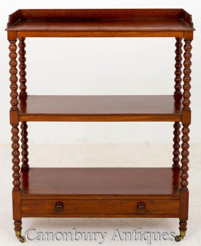 Victorian Mahogany Dumb Waiter Bookcase 1850
