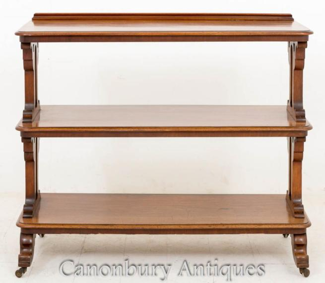 Victorian Mahogany Dumb Waiter Bookcase Shelf 1860