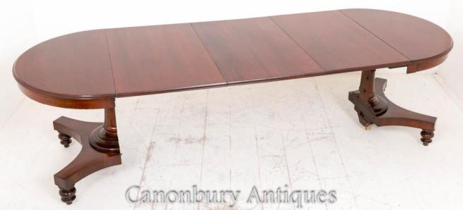 Victorian Mahogany Split Base Extending Dining Table