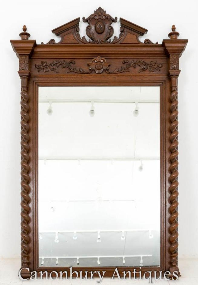 Victorian Oak Pier Mirror Hand Carved
