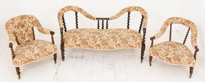 Victorian Parlour Suite Tub Chair and Cameo Settee