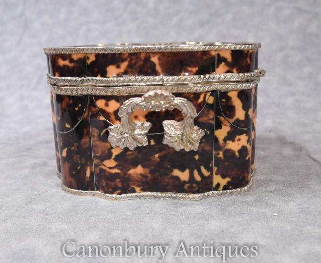 Victorian Silver Plate Tortoiseshell Trinket Jewellery Case Box