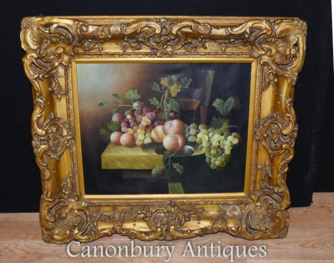 Victorian Still Life Oil Painting Fruit Gilt Frame