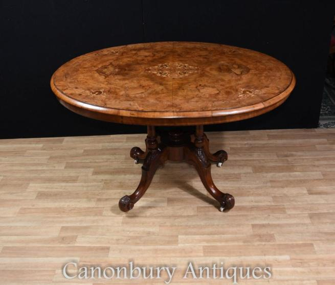 Victorian Walnut Centre Table Loo Tables Marquetry Inlay
