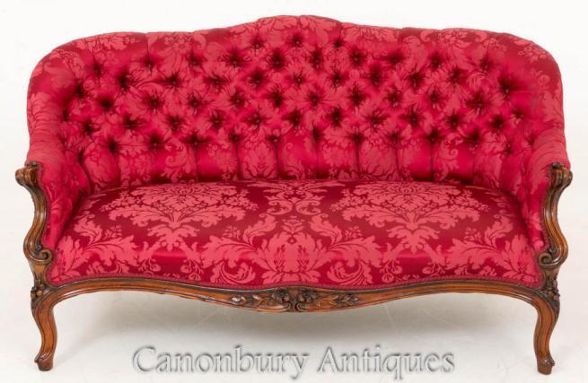 Victorian Walnut Deep Button Settee Couch 1860