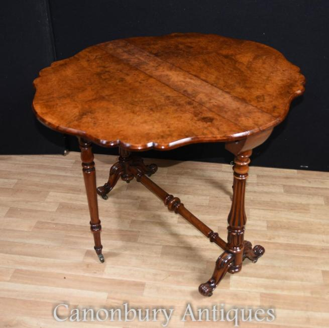 Victorian Walnut Drop Leaf Side Table