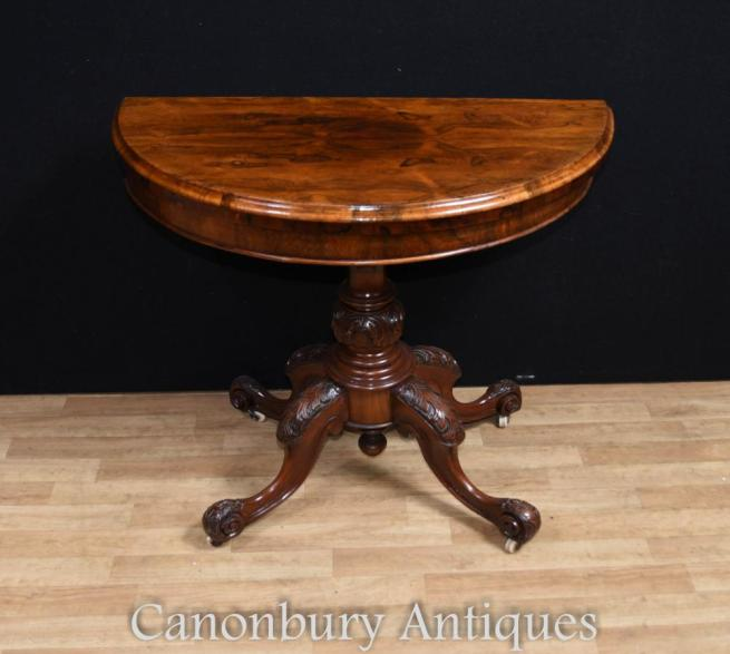Victorian Walnut Oval Card Table Games Tables