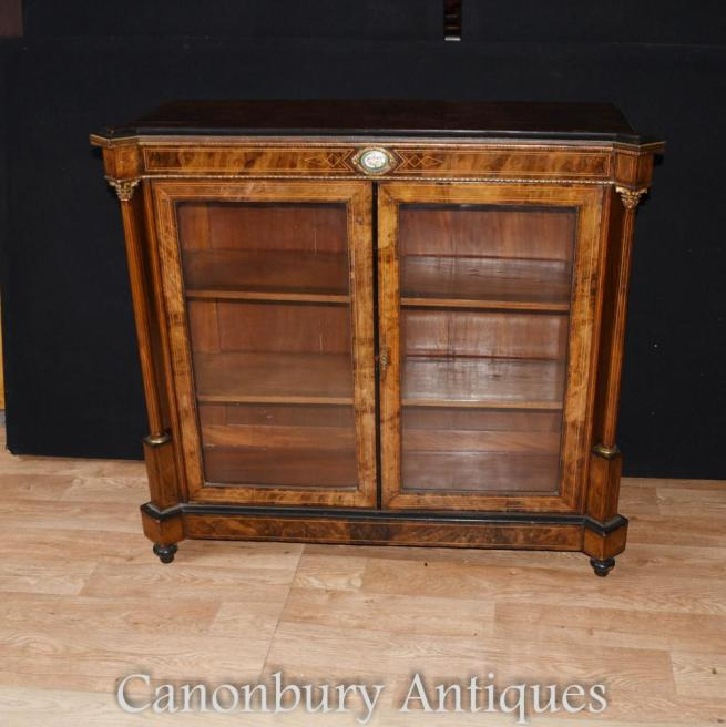 Victorian Walnut Pier Cabinet Glass Display