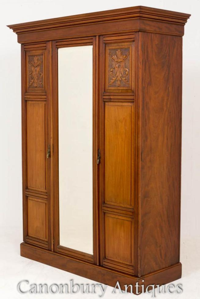 Victorian Walnut Wardrobe Closet Circa 1890