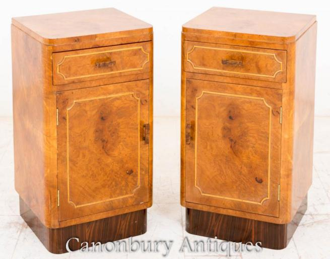 Walnut Art Deco Bedside Chests Cabinets Nightstands