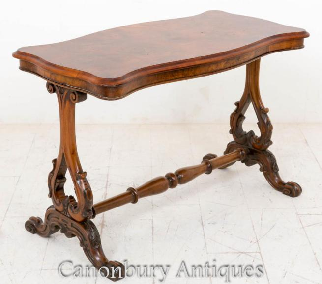 Walnut Victorian Stretcher Table Serpentine Side