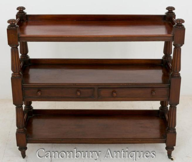 William IV Dumb Waiter Mahogany Bookcase Shelf 1800