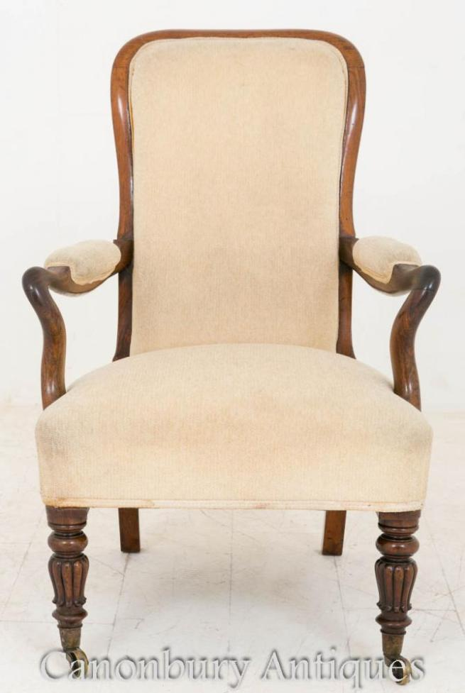 William IV Library Chair Rosewood Arm Chairs 1800