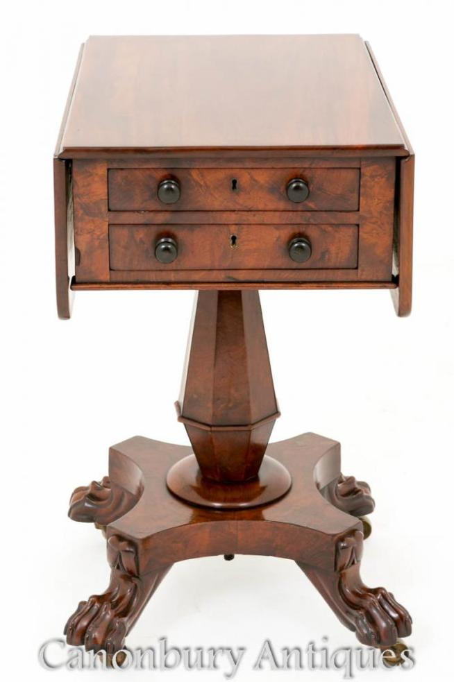 William IV Sewing Side Table Mahogany