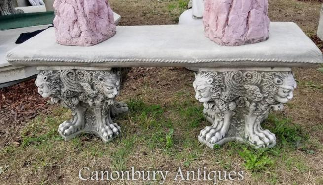 Winged Lion Stone Garden Seat Bench