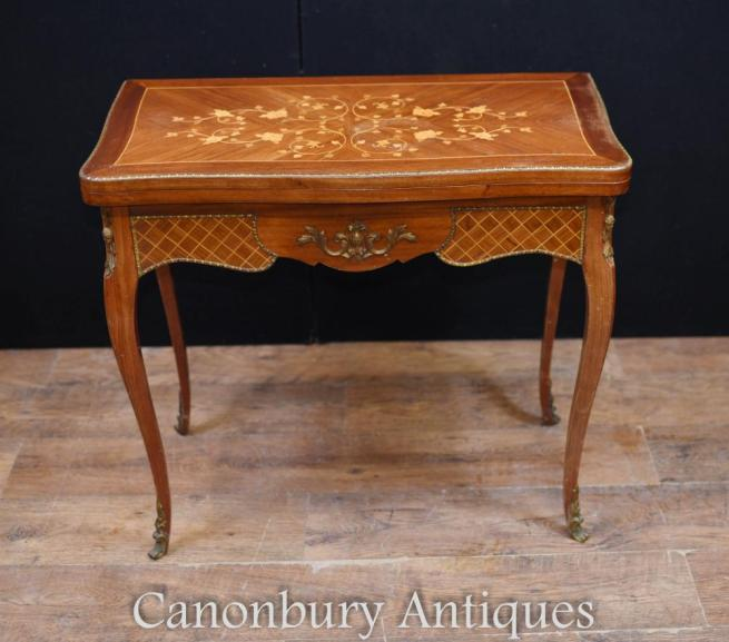 Antique French Empire Card Games Table Marquetry Inlay