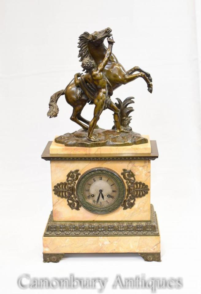 Antique French Empire Marble Bronze Mantle Clock Horse