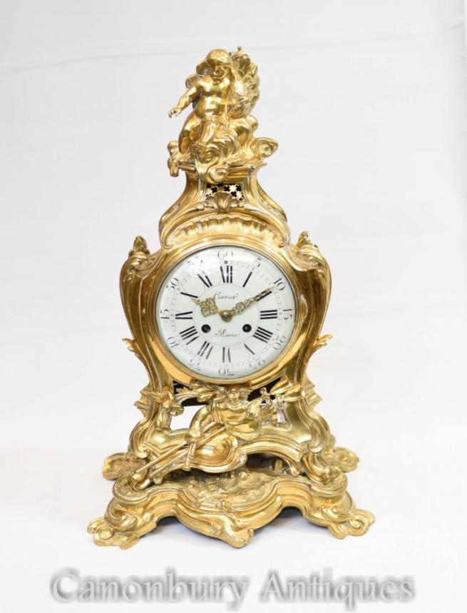 Antique French Gilt Mantle Clock Cherub Rococo 1880