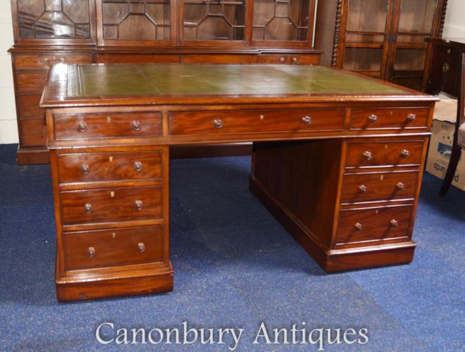 Antique William IV Mahogany Partners Desk