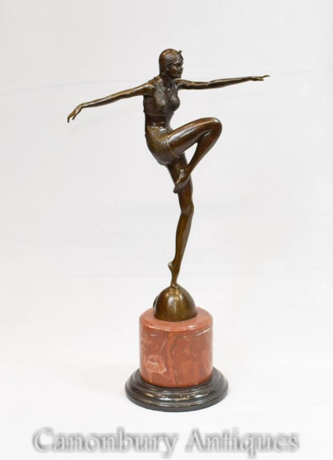 Art Deco Bronze Dancer Statue Signed J Philippe