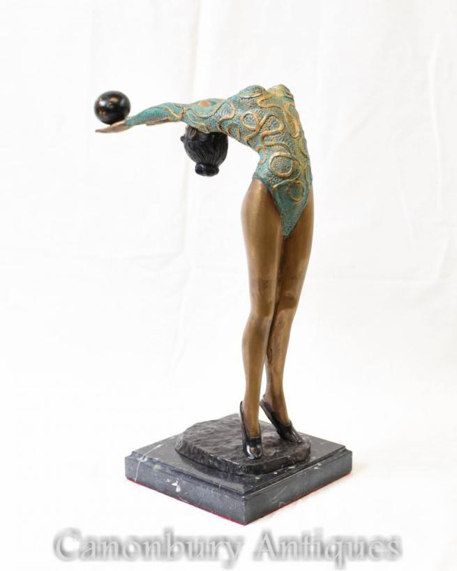 Art Deco Bronze Green Deco Dancer Statue Figurine