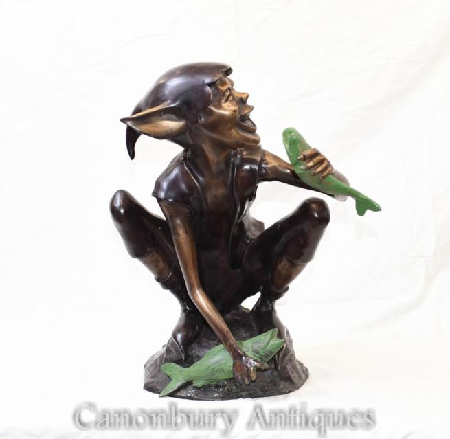 Bronze Celtic Pixie Fishing Statue Fairey Elph
