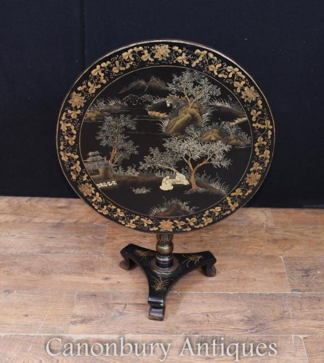 Chinese Black Lacquer Side Table Chinoiserie