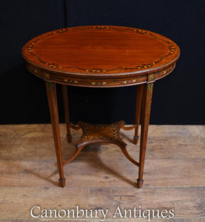Edwardian Painted Oval Side Table Cocktail Tables