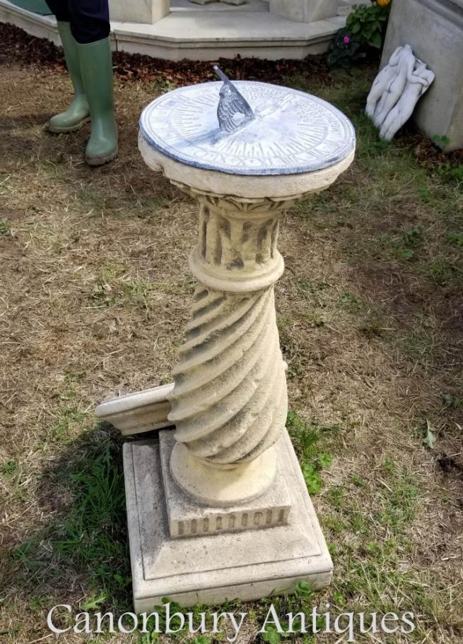 English Stone Barley Twist Sun Dial Bird Bath