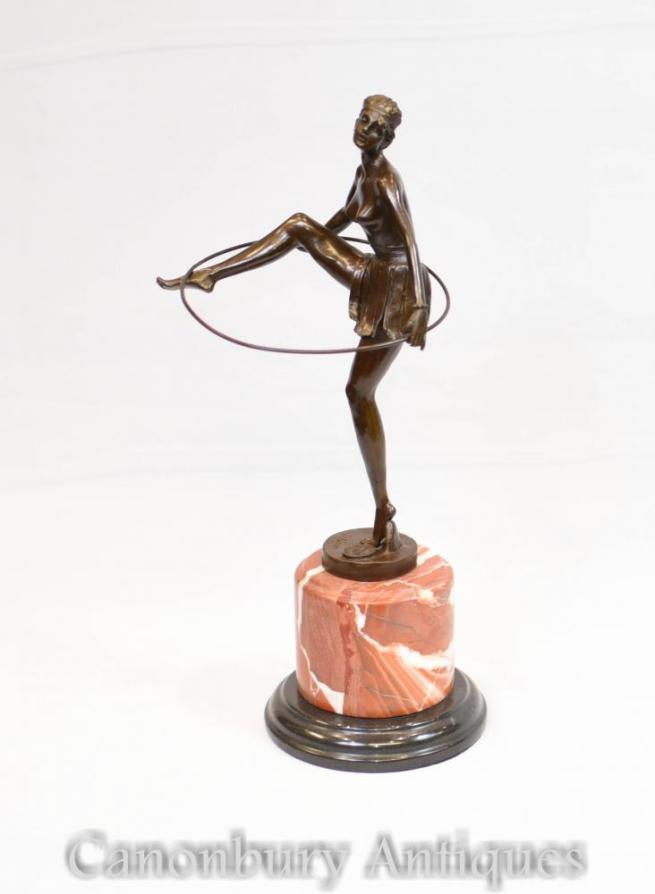 French Art Deco Hoop Dancer Statue Signed Alonzo Figurine