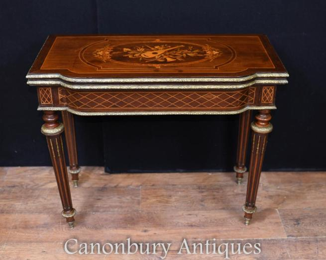 French Empire Card Table Antique Games 1880