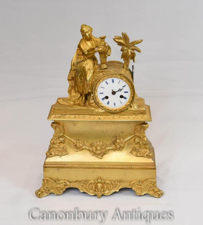 French Empire Gilt Mantle Clock Ormolu Maiden