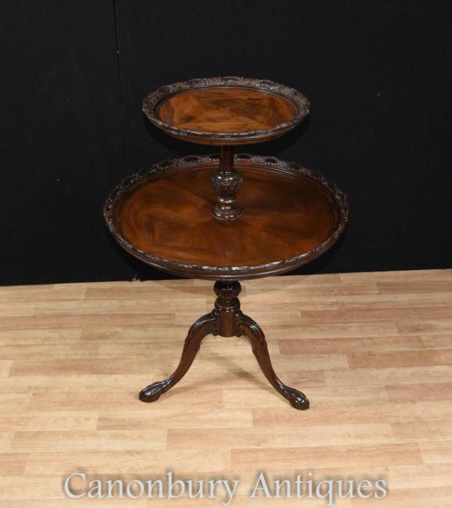 George II Mahogany Dumb Waiter Tiered Table