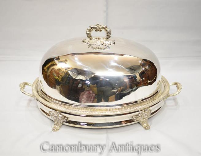 Georgian Silver Plate Serving Plate Dome Platter Meat Cover
