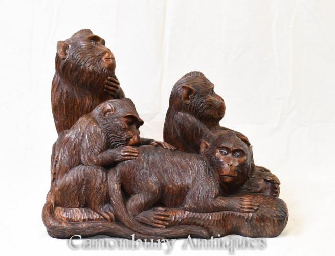 Hand Carved Black Forest Monkey Carving Chimp Troop Gibbon