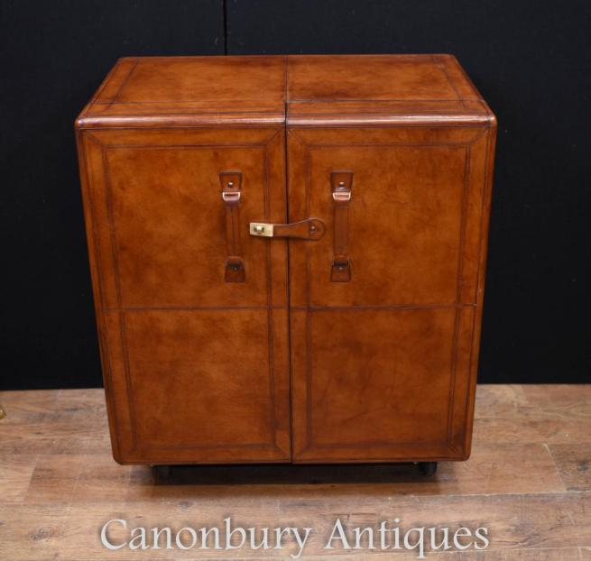 Leather Campaign Chest Drinks Cabinet Colonial Furniture