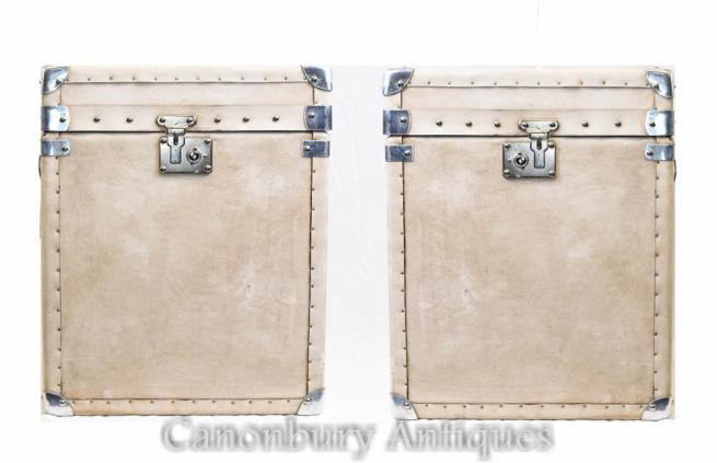 Pair English Leather Steamer Trunk Luggage