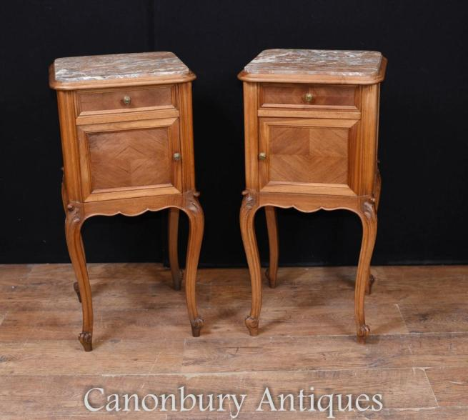 Pair French Antique Bedside Chests Nightstands Parquetry