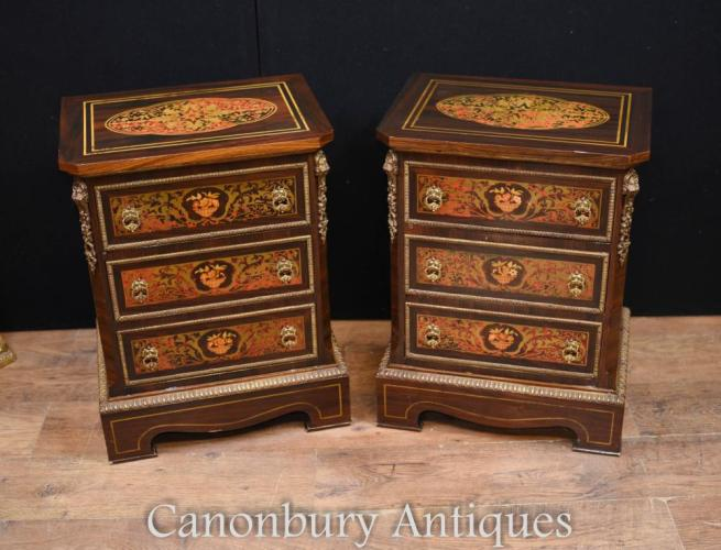 Pair French Boulle Inlay Bedside Chests Cabinets