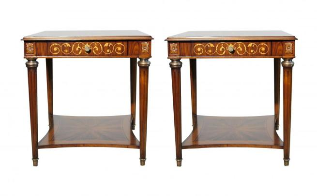 Pair French Empire Marquetry Inlay Side Tables