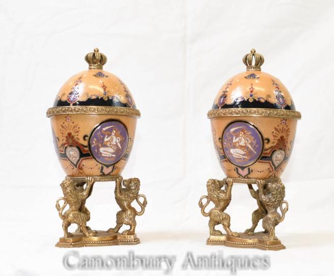 Pair French Empire Porcelain Urns Vases Lidded Lions