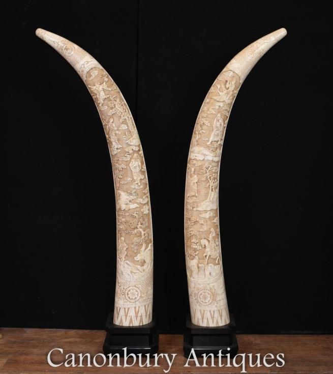 Pair Large Chinese Hand Carved Bone Tusk Displays Architectural